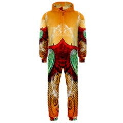Beautiful Heart Made Of Diamond With Wings And Floral Elements Hooded Jumpsuit (Men)
