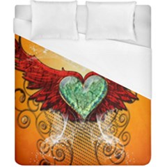 Beautiful Heart Made Of Diamond With Wings And Floral Elements Duvet Cover Single Side (double Size)