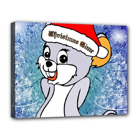 Funny Cute Christmas Mouse With Christmas Tree And Snowflakses Canvas 14  x 11