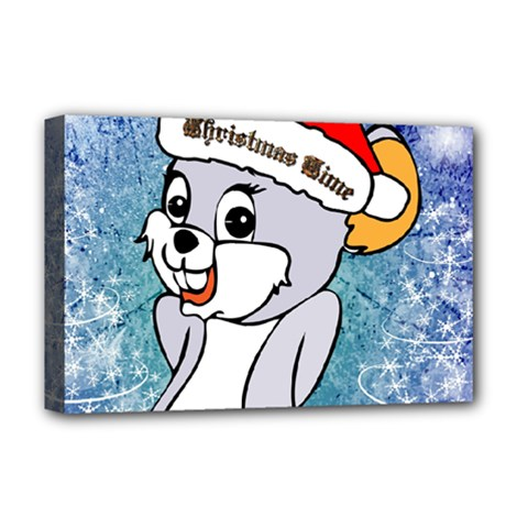 Funny Cute Christmas Mouse With Christmas Tree And Snowflakses Deluxe Canvas 18  x 12
