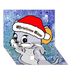 Funny Cute Christmas Mouse With Christmas Tree And Snowflakses LOVE Bottom 3D Greeting Card (7x5)