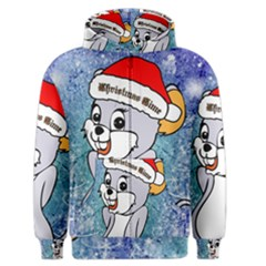 Funny Cute Christmas Mouse With Christmas Tree And Snowflakses Men s Zipper Hoodies