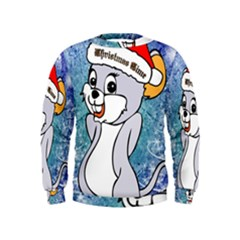Funny Cute Christmas Mouse With Christmas Tree And Snowflakses Boys  Sweatshirts