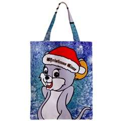 Funny Cute Christmas Mouse With Christmas Tree And Snowflakses Zipper Classic Tote Bags
