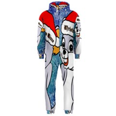 Funny Cute Christmas Mouse With Christmas Tree And Snowflakses Hooded Jumpsuit (Men)