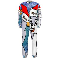 Funny Cute Christmas Mouse With Christmas Tree And Snowflakses OnePiece Jumpsuit (Men)