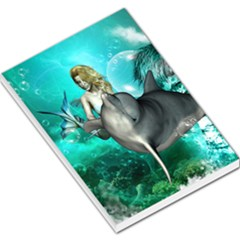 Beautiful Mermaid With  Dolphin With Bubbles And Water Splash Large Memo Pads