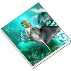 Beautiful Mermaid With  Dolphin With Bubbles And Water Splash Small Memo Pads