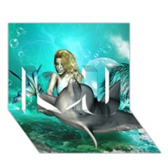 Beautiful Mermaid With  Dolphin With Bubbles And Water Splash I Love You 3D Greeting Card (7x5)