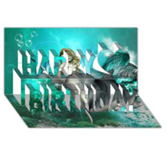 Beautiful Mermaid With  Dolphin With Bubbles And Water Splash Happy Birthday 3D Greeting Card (8x4)