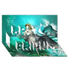 Beautiful Mermaid With  Dolphin With Bubbles And Water Splash Best Friends 3D Greeting Card (8x4)