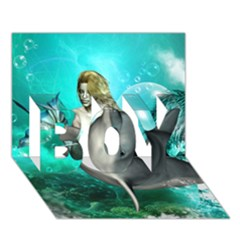 Beautiful Mermaid With  Dolphin With Bubbles And Water Splash BOY 3D Greeting Card (7x5)
