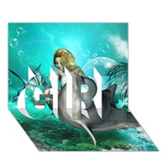 Beautiful Mermaid With  Dolphin With Bubbles And Water Splash GIRL 3D Greeting Card (7x5)