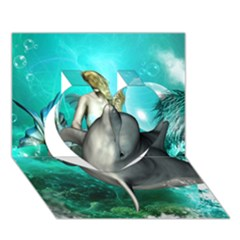Beautiful Mermaid With  Dolphin With Bubbles And Water Splash Heart 3d Greeting Card (7x5)