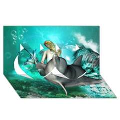 Beautiful Mermaid With  Dolphin With Bubbles And Water Splash Twin Hearts 3D Greeting Card (8x4)