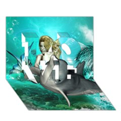 Beautiful Mermaid With  Dolphin With Bubbles And Water Splash LOVE 3D Greeting Card (7x5)