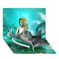 Beautiful Mermaid With  Dolphin With Bubbles And Water Splash Heart Bottom 3d Greeting Card (7x5)