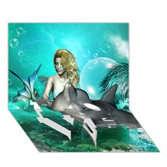 Beautiful Mermaid With  Dolphin With Bubbles And Water Splash Love Bottom 3d Greeting Card (7x5)