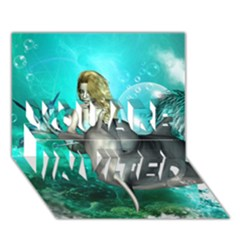 Beautiful Mermaid With  Dolphin With Bubbles And Water Splash YOU ARE INVITED 3D Greeting Card (7x5)