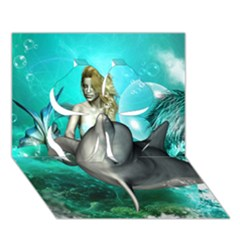 Beautiful Mermaid With  Dolphin With Bubbles And Water Splash Clover 3D Greeting Card (7x5)