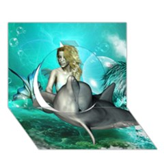 Beautiful Mermaid With  Dolphin With Bubbles And Water Splash Circle 3D Greeting Card (7x5)