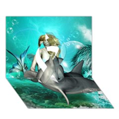 Beautiful Mermaid With  Dolphin With Bubbles And Water Splash Ribbon 3d Greeting Card (7x5)