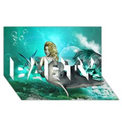 Beautiful Mermaid With  Dolphin With Bubbles And Water Splash PARTY 3D Greeting Card (8x4)