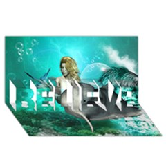 Beautiful Mermaid With  Dolphin With Bubbles And Water Splash Believe 3d Greeting Card (8x4)