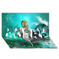 Beautiful Mermaid With  Dolphin With Bubbles And Water Splash Sorry 3d Greeting Card (8x4)