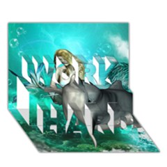 Beautiful Mermaid With  Dolphin With Bubbles And Water Splash Work Hard 3d Greeting Card (7x5)
