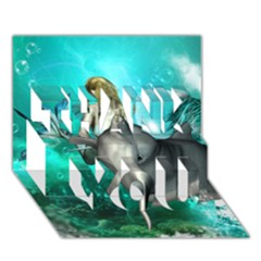 Beautiful Mermaid With  Dolphin With Bubbles And Water Splash THANK YOU 3D Greeting Card (7x5)