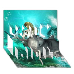 Beautiful Mermaid With  Dolphin With Bubbles And Water Splash You Did It 3D Greeting Card (7x5)