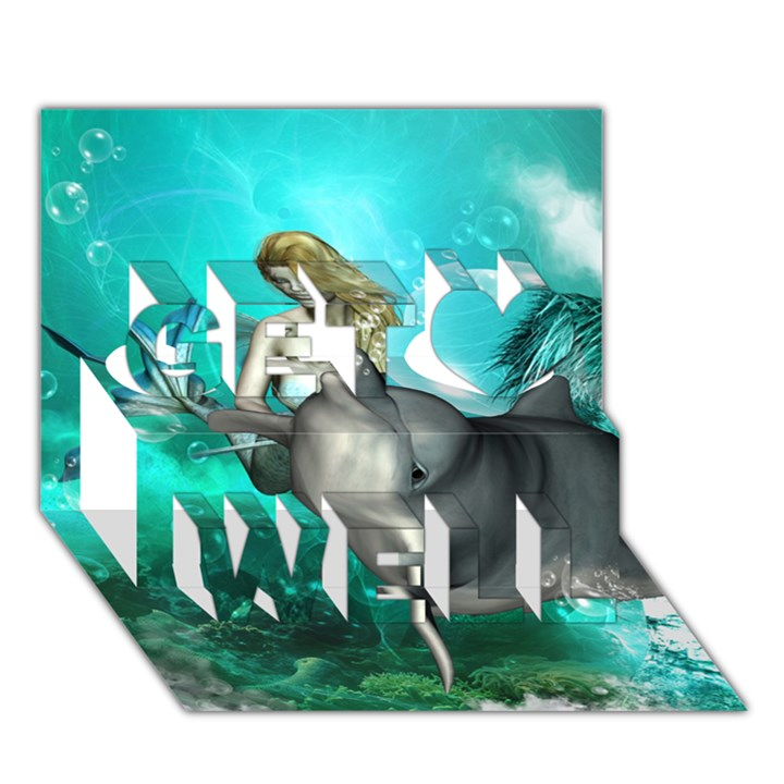 Beautiful Mermaid With  Dolphin With Bubbles And Water Splash Get Well 3D Greeting Card (7x5)