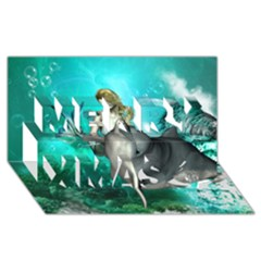 Beautiful Mermaid With  Dolphin With Bubbles And Water Splash Merry Xmas 3d Greeting Card (8x4)