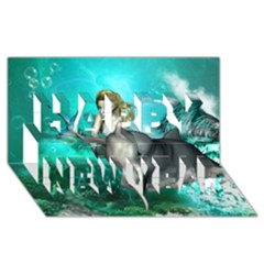 Beautiful Mermaid With  Dolphin With Bubbles And Water Splash Happy New Year 3d Greeting Card (8x4)