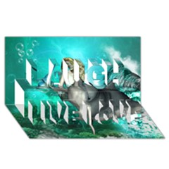 Beautiful Mermaid With  Dolphin With Bubbles And Water Splash Laugh Live Love 3d Greeting Card (8x4)