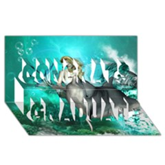 Beautiful Mermaid With  Dolphin With Bubbles And Water Splash Congrats Graduate 3d Greeting Card (8x4)