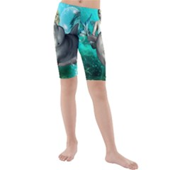 Beautiful Mermaid With  Dolphin With Bubbles And Water Splash Kid s swimwear
