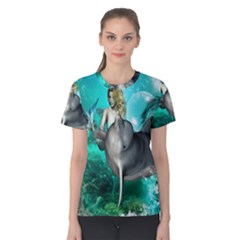 Beautiful Mermaid With  Dolphin With Bubbles And Water Splash Women s Cotton Tees