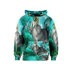 Beautiful Mermaid With  Dolphin With Bubbles And Water Splash Kids Zipper Hoodies