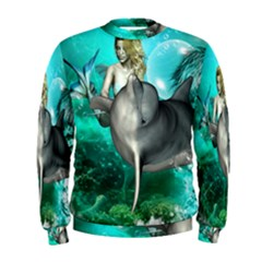 Beautiful Mermaid With  Dolphin With Bubbles And Water Splash Men s Sweatshirts