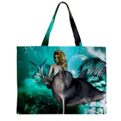 Beautiful Mermaid With  Dolphin With Bubbles And Water Splash Zipper Tiny Tote Bags