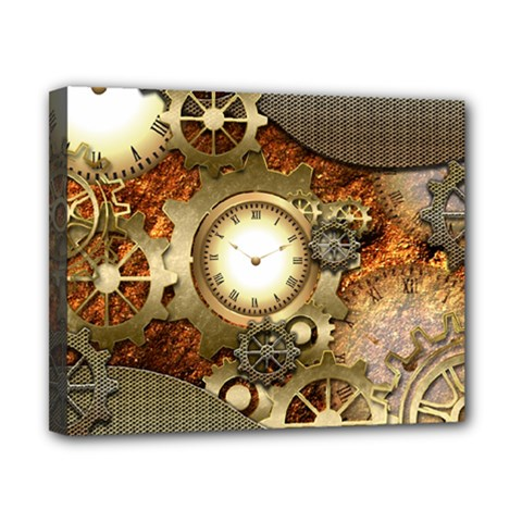 Steampunk, Wonderful Steampunk Design With Clocks And Gears In Golden Desing Canvas 10  x 8