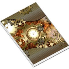 Steampunk, Wonderful Steampunk Design With Clocks And Gears In Golden Desing Large Memo Pads