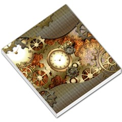 Steampunk, Wonderful Steampunk Design With Clocks And Gears In Golden Desing Small Memo Pads
