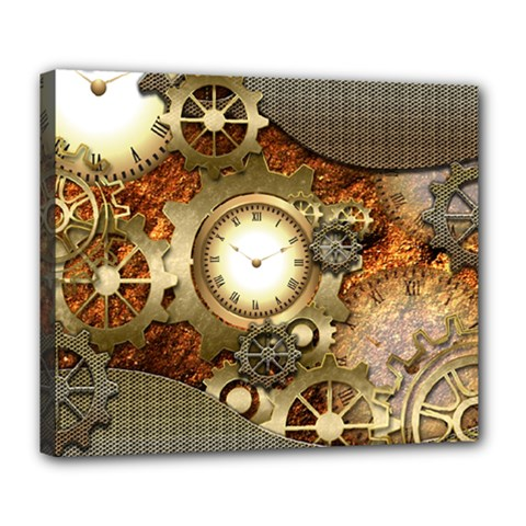 Steampunk, Wonderful Steampunk Design With Clocks And Gears In Golden Desing Deluxe Canvas 24  x 20