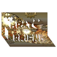 Steampunk, Wonderful Steampunk Design With Clocks And Gears In Golden Desing Best Friends 3D Greeting Card (8x4)