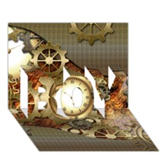 Steampunk, Wonderful Steampunk Design With Clocks And Gears In Golden Desing BOY 3D Greeting Card (7x5)