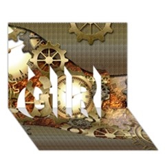 Steampunk, Wonderful Steampunk Design With Clocks And Gears In Golden Desing GIRL 3D Greeting Card (7x5)