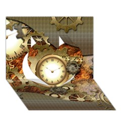 Steampunk, Wonderful Steampunk Design With Clocks And Gears In Golden Desing Heart 3D Greeting Card (7x5)